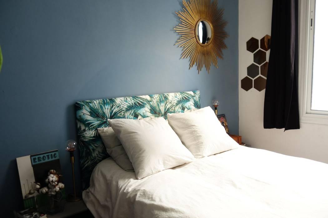 une chambre bleue tropicale chambre de style par sarah. Black Bedroom Furniture Sets. Home Design Ideas