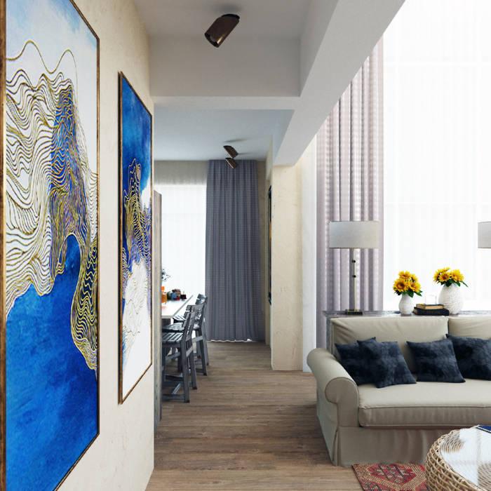 Яркая вилла на о. Кипр|Bright villa on Cyprus|Parlaklı villa Kıbrıs'ta Eli's Home Гостиная в средиземноморском стиле