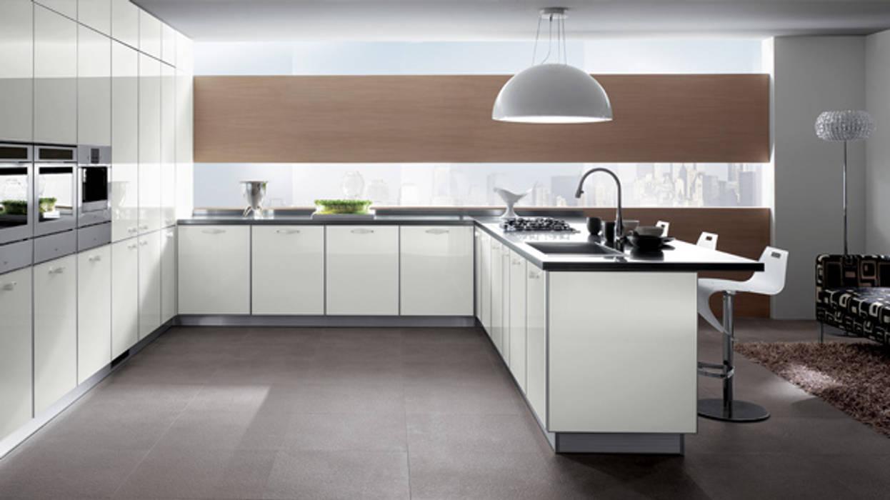 Minimalist White Kitchen:  Kitchen units by Subramanian- Homify