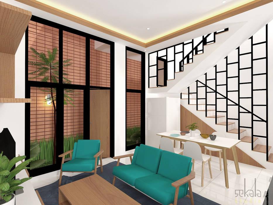 Rumah Ibu Vika Ruang Keluarga Tropis Oleh SEKALA Studio Tropis Batu Bata