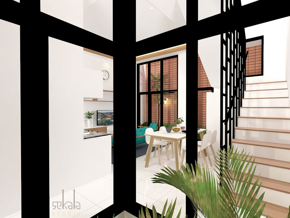 Rumah Ibu Vika Ruang Keluarga Modern Oleh SEKALA Studio Modern Batu Bata