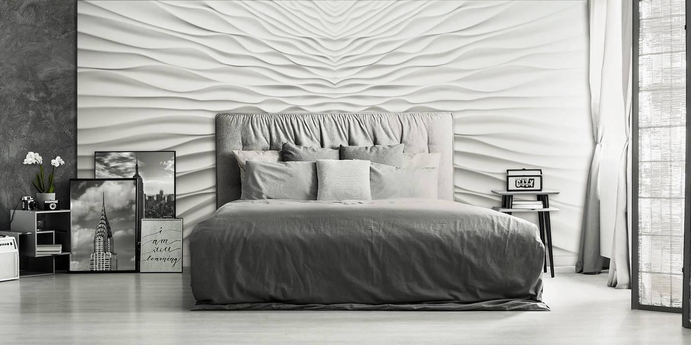 Modell Illusion - Wandverkleidung aus Gips:  Schlafzimmer von Loft Design System Deutschland - Wandpaneele aus Bayern