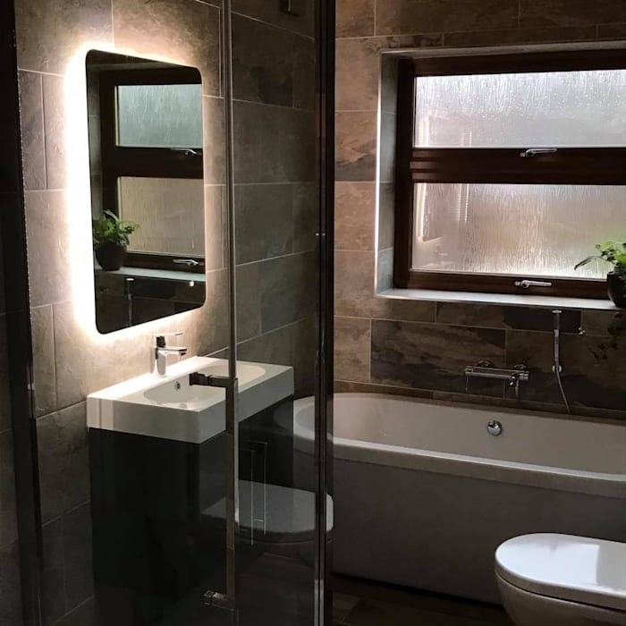 mirrior with back lights:  Bathroom by Square Designs