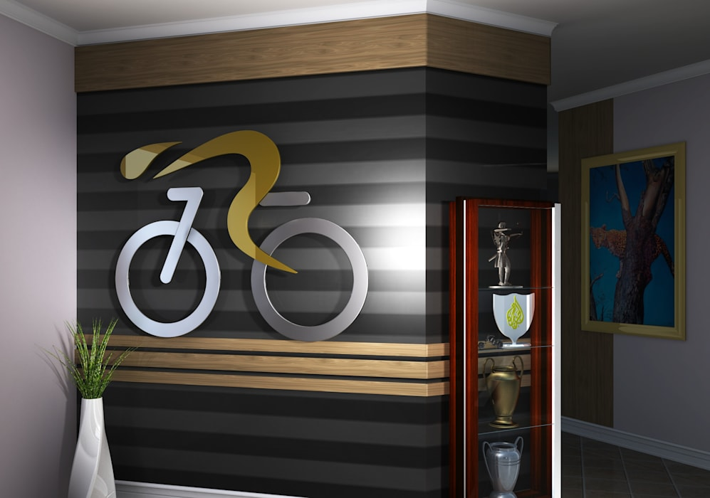 Cycling Themed wall:  Artwork by Kori Interiors