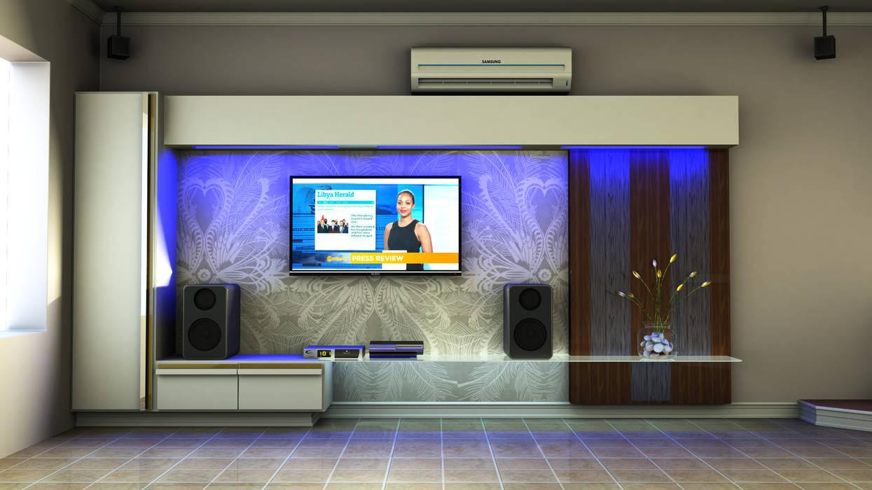Contemporary TV unit:  Living room by Kori Interiors