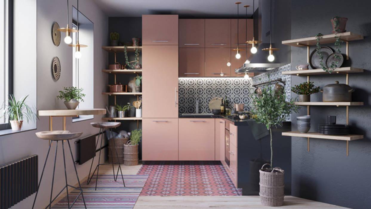 Mấu thiết kế bếp chữ L đẹp phù hợp với không gian sống hiện đại:  Bếp xây sẵn by Công ty TNHH TK XD Song Phát, Hiện đại Đồng / Đồng / Đồng thau