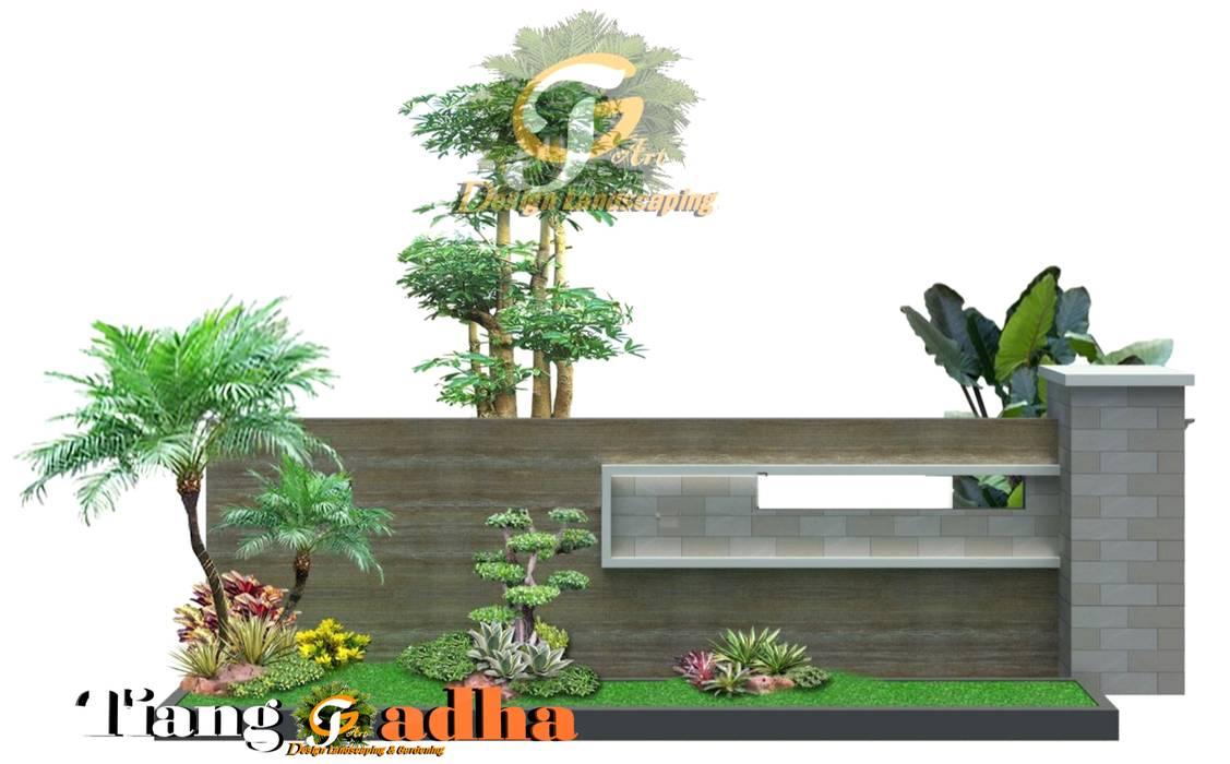 Desain Taman Luar Pagar Perumahan di Surabaya: Halaman depan oleh Tukang Taman Surabaya - Tianggadha-art, Modern Batu