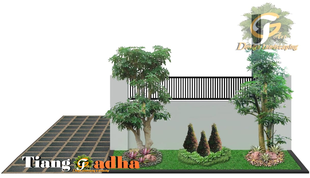 Desain Taman Surabaya Barat Pakuwon indah Oleh Tukang Taman Surabaya - Tianggadha-art Modern Batu