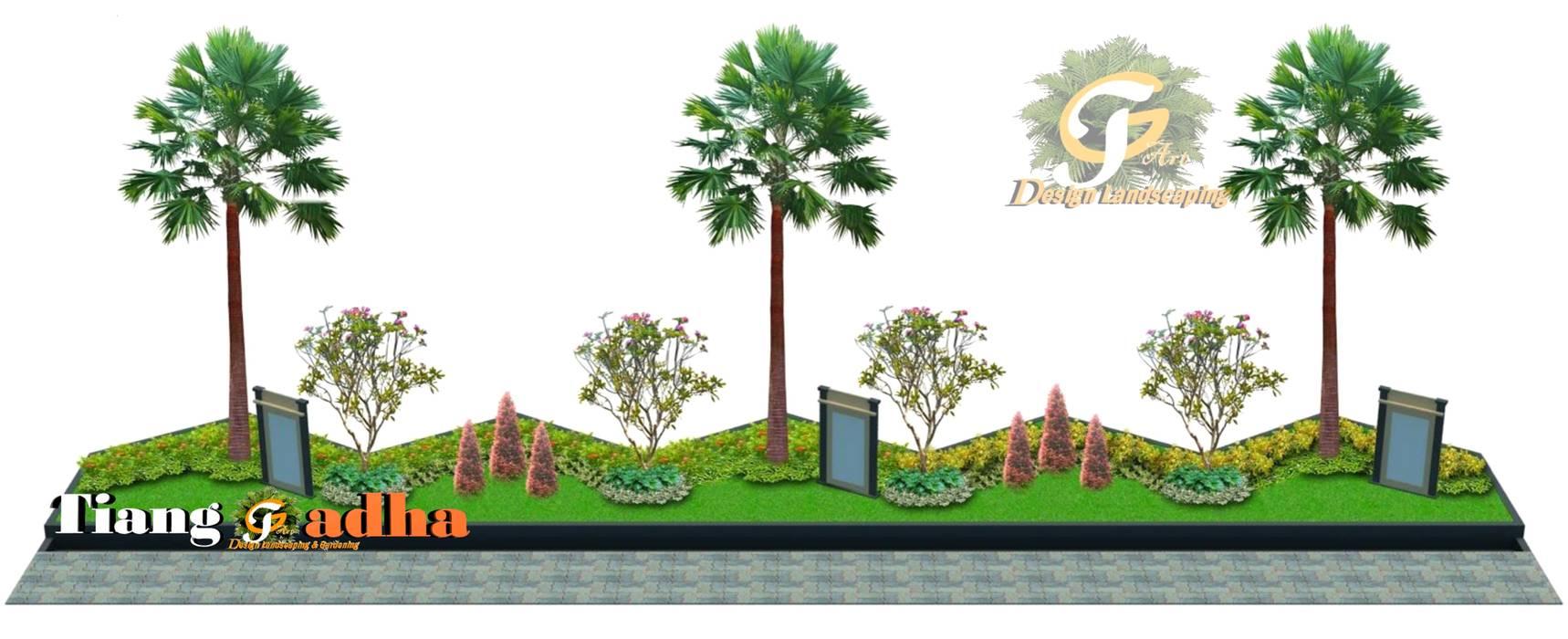 Taman Halaman Depan Pabrik Oleh Tukang Taman Surabaya - Tianggadha-art Modern Batu
