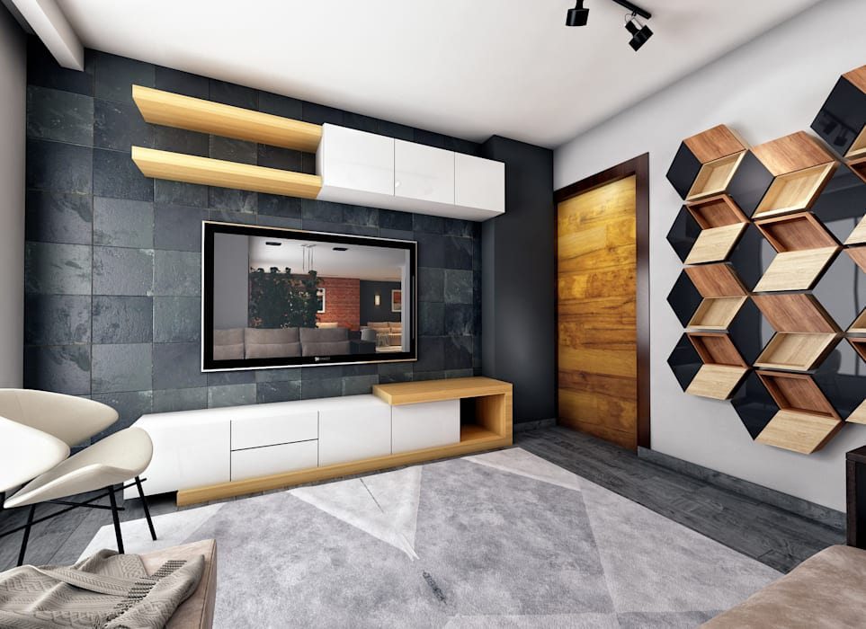 Apartment Interior in East Town Sodic:  غرفة المعيشة تنفيذ Zoning Architects