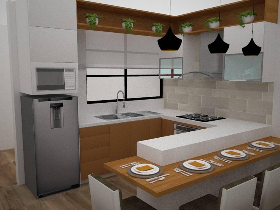 Cocina Integrada: Cocinas equipadas de estilo  por SindiyFiorella,