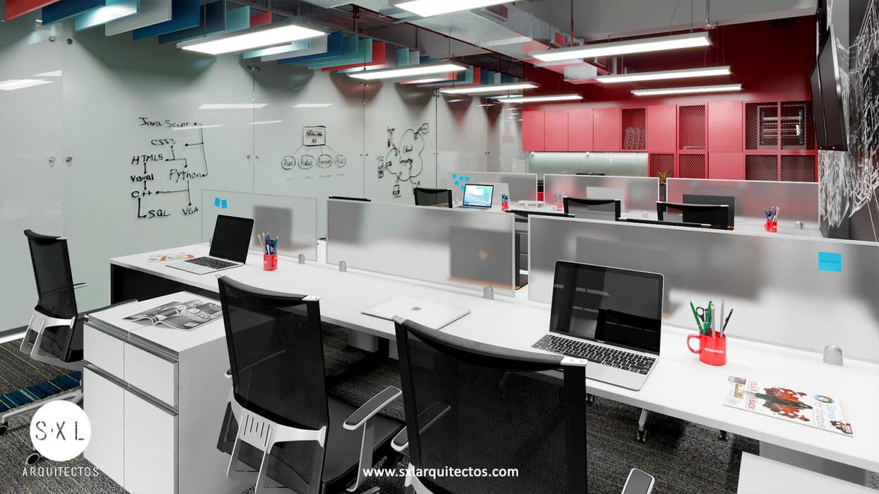 Detalle área de trabajo: Oficinas de estilo  por SXL ARQUITECTOS