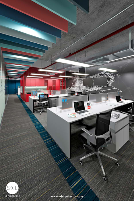 Área de trabajo: Oficinas de estilo  por SXL ARQUITECTOS,