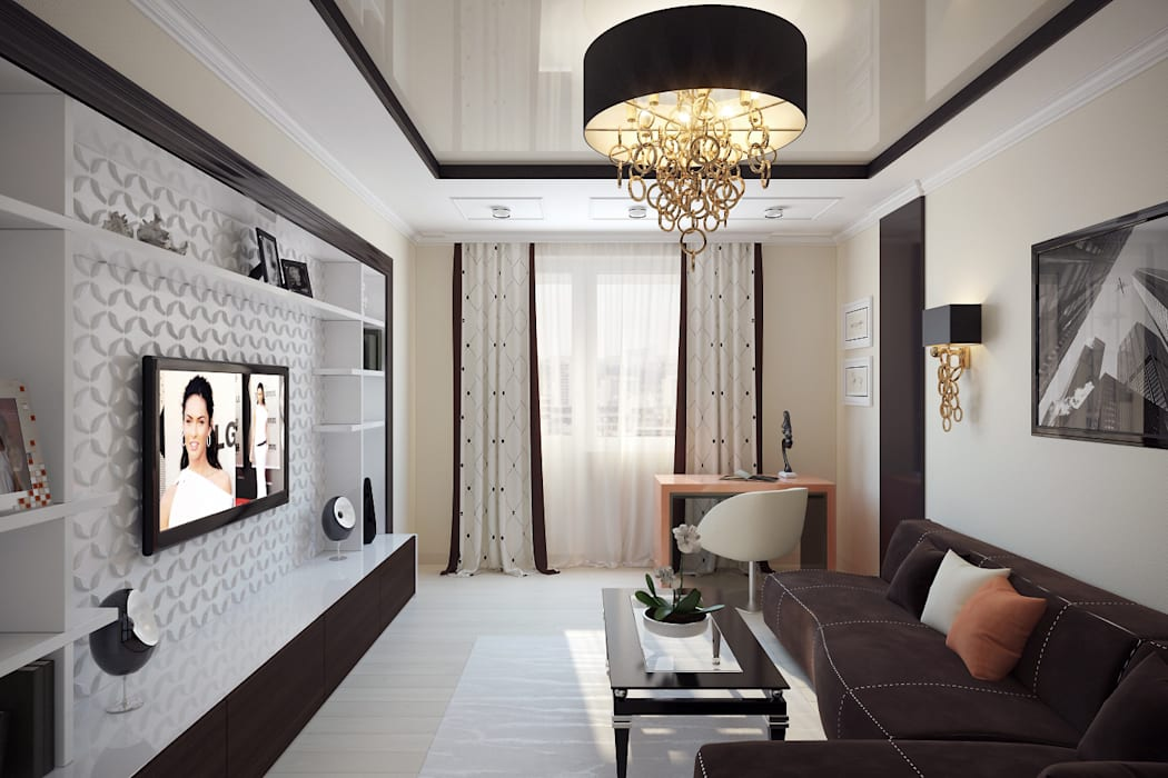 Ruang Keluarga oleh Татьяна Третьякова - дизайнер интерьера , Minimalis