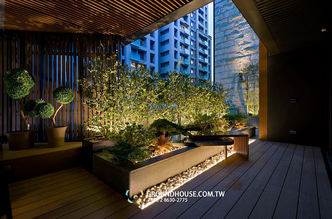 後院 大地工房景觀公司 Asian style balcony, veranda & terrace