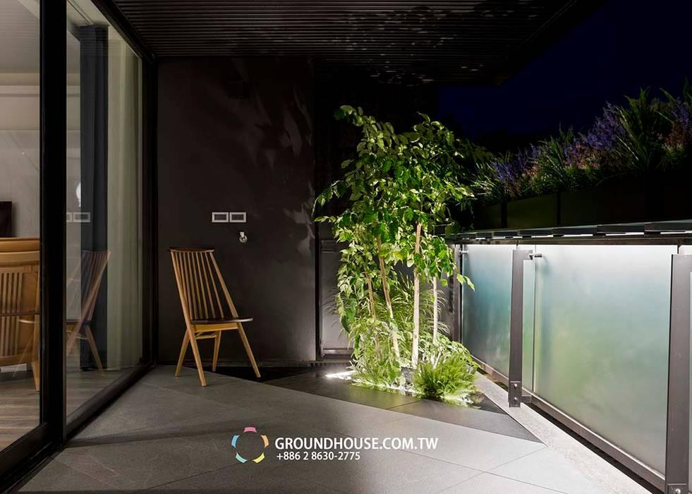 前院 Asian style balcony, veranda & terrace by 大地工房景觀公司 Asian