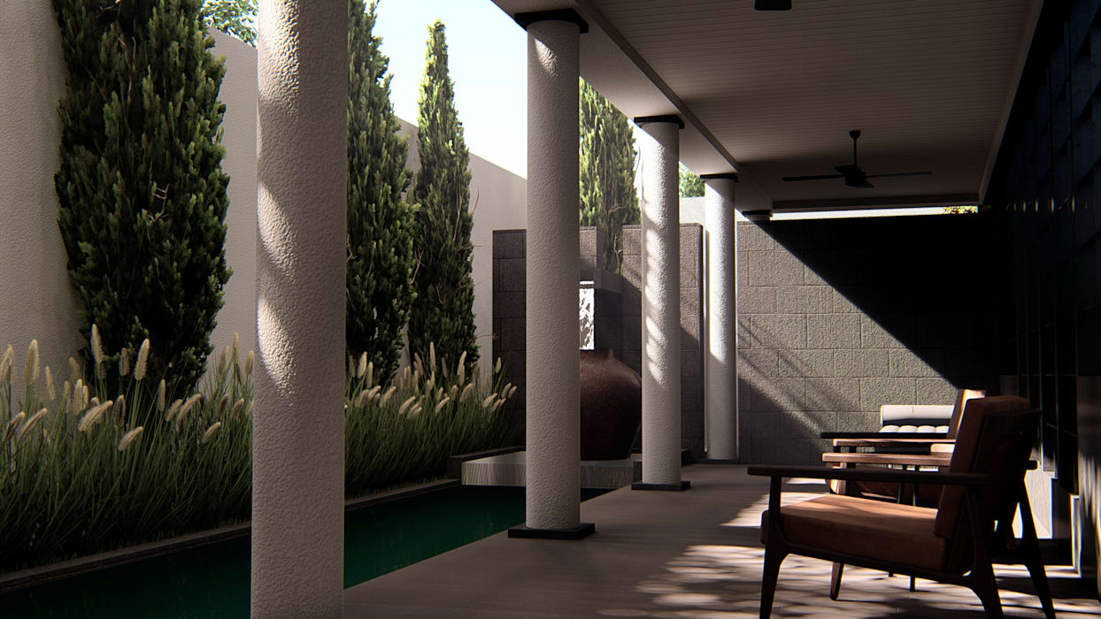 Foyer: Teras oleh alexander and philips, Klasik Kayu Wood effect