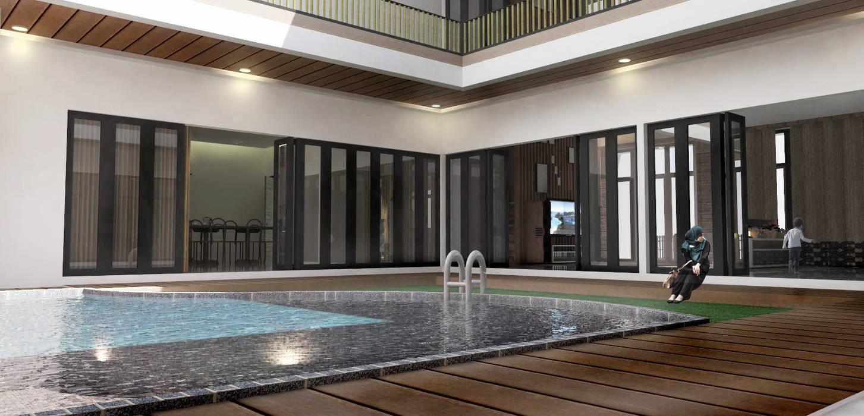 Kolam Renang Inner Court Oleh Scande Architect Modern Kayu Lapis