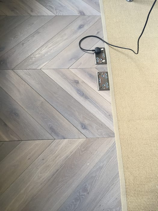 SILVER GREY - Chevron Wood Flooring Supply & Installation:  Floors by Unique Bespoke Wood