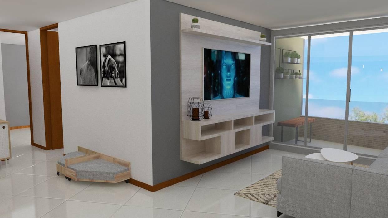 Scandinavian style living room by Naromi Design Scandinavian Wood Wood effect