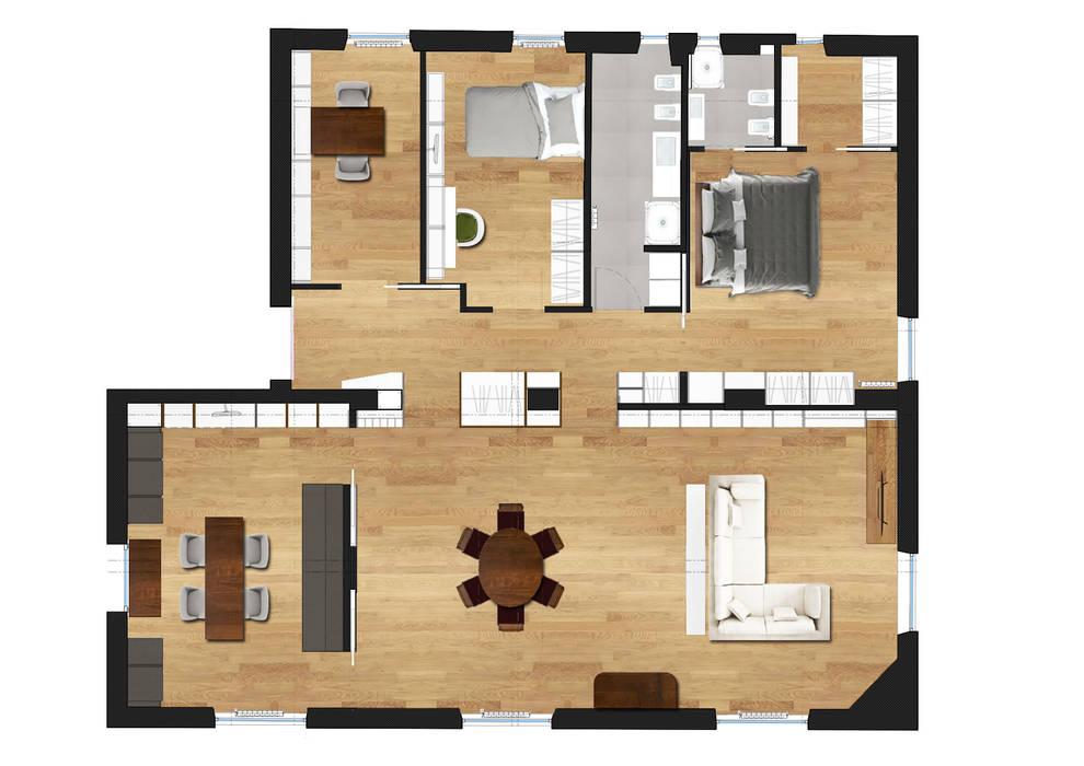 Planimetria di progetto: soggiorno in stile di duolab ...