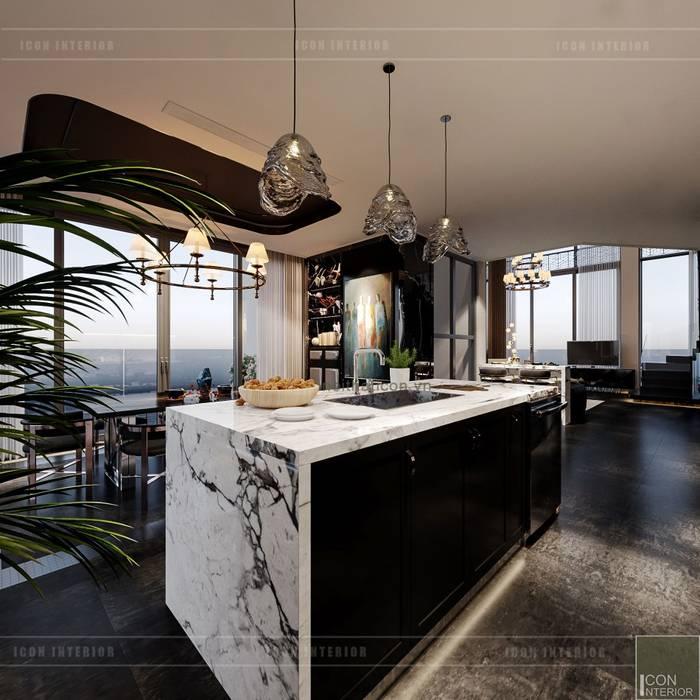 Thiết kế nội thất Penhouse Masteri Millenium - Phong cách hiện đại kết hợp Đông Dương Phòng ăn phong cách châu Á bởi ICON INTERIOR Châu Á
