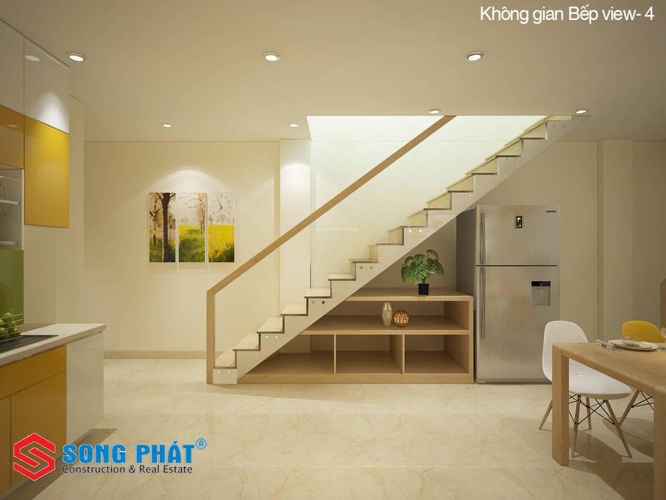 Chiêm ngưỡng thiết kế nội thất trẻ trung bên trong nhà phố 5 tầng:  Cầu thang by Công ty TNHH TK XD Song Phát, Hiện đại Đá hoa