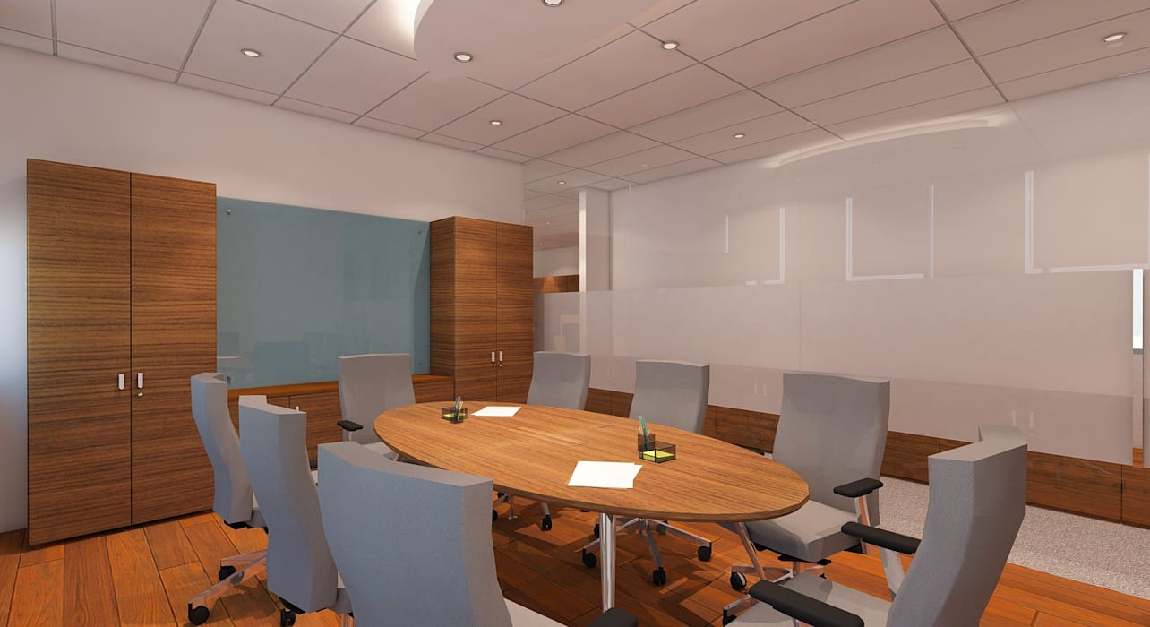 SMALL MEETING: Ruang Kerja oleh IFAL arch, Modern Kayu Wood effect