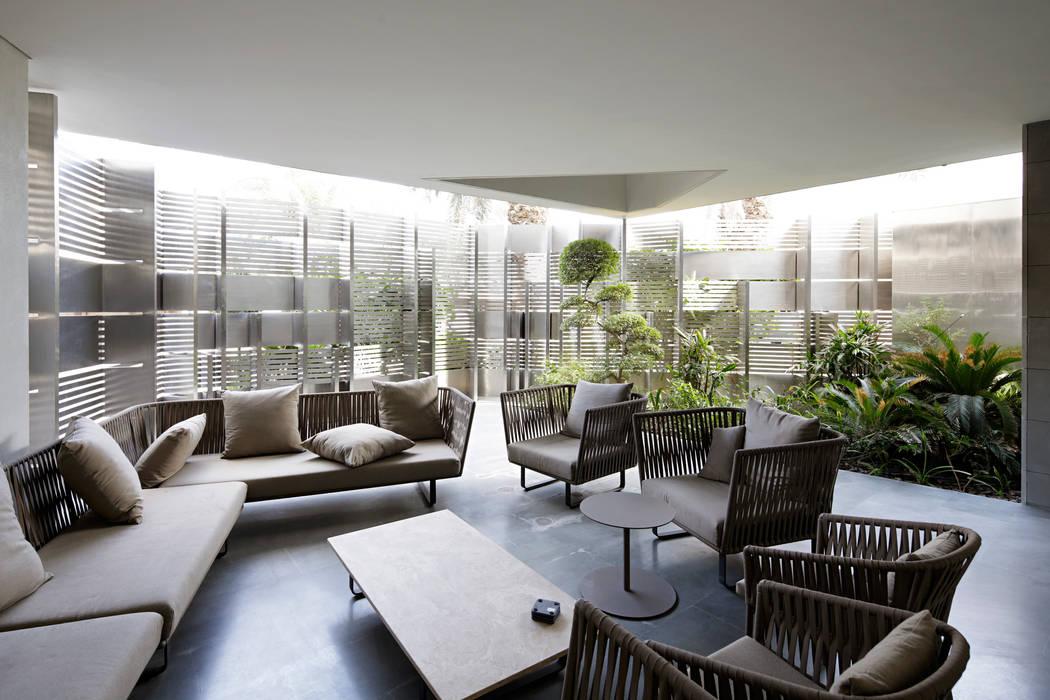 Proyecto arquitectónico. Construcción de una vivienda en Kwait Salones de estilo moderno de AGi architects arquitectos y diseñadores en Madrid Moderno