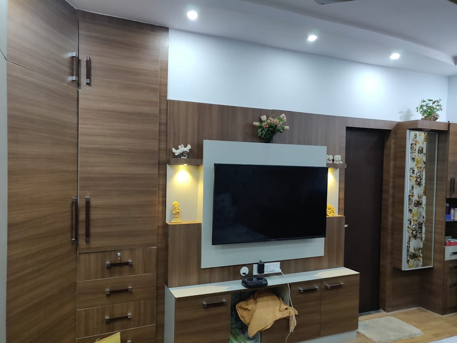 Mbr Lcd Unit Merged With Wardrobe Modern Style Bedroom By