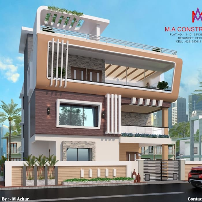 Exteriors and Architectural :  Houses by M.A Constructions,Colonial