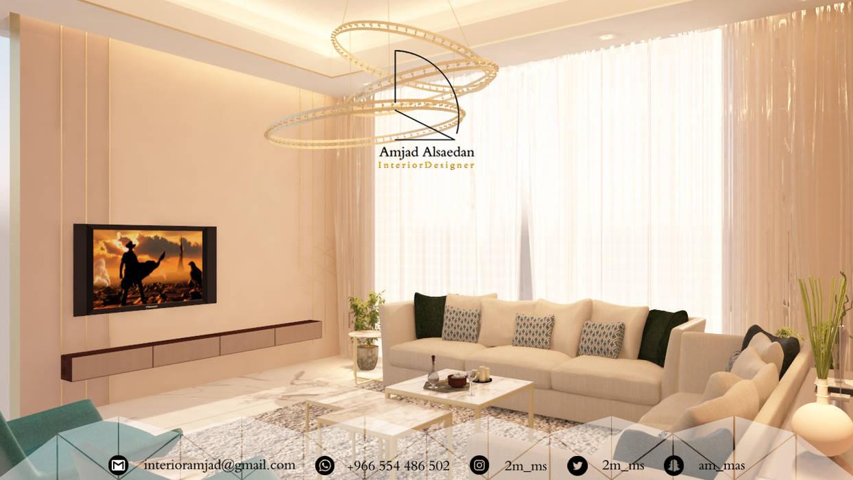 غرفة معيشة - Living room:  غرفة المعيشة تنفيذ Amjad Alseaidan, حداثي