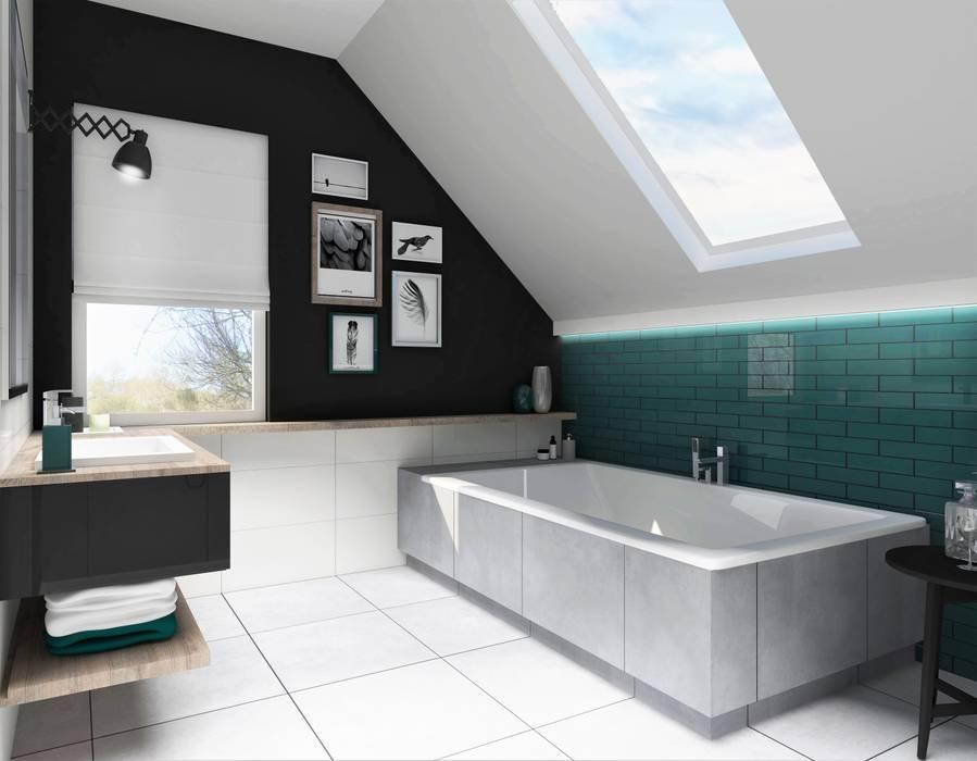 łazienka Z Wanną I Prysznicem Na Poddaszu Styl W