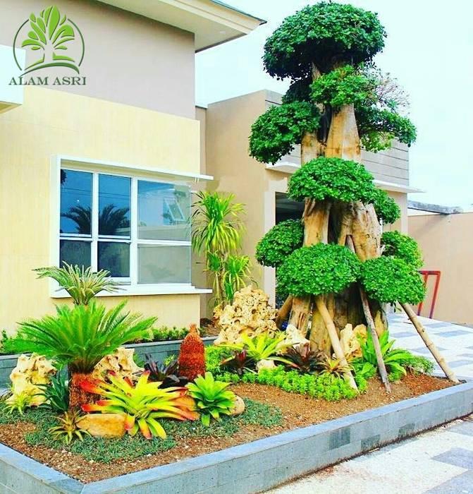 Jasa Pembuatan Taman Alam Asri Landscape Halaman depan Kayu Green