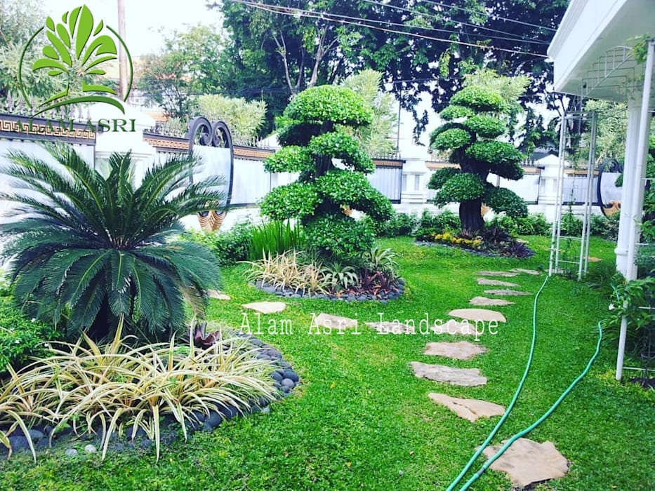 Jasa Buat Taman dan Kolam Koi Oleh Alam Asri Landscape Minimalis Kayu Wood effect