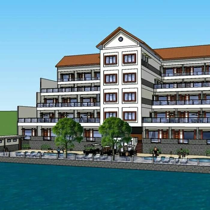 Tampak Belakang Hotel yang Menghadap ke Danau:  oleh Amirul Design & Build ,