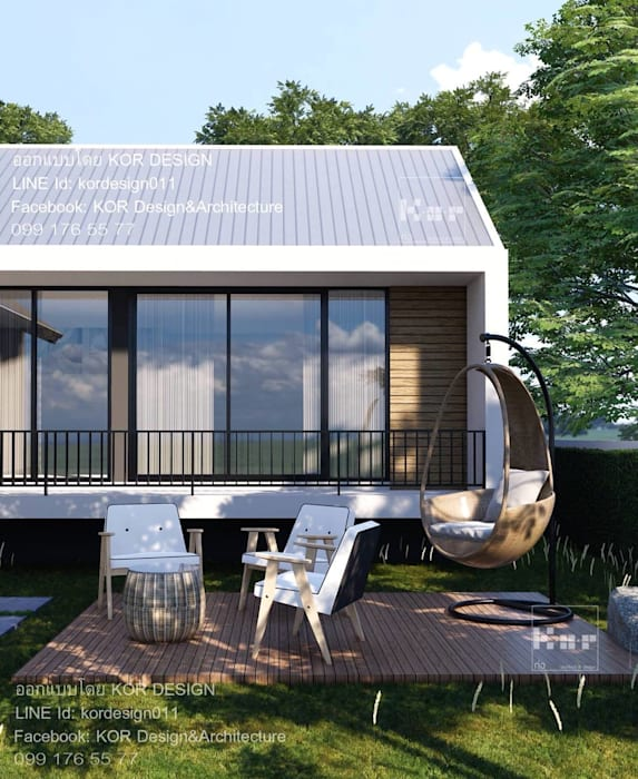 แบบบ้านชั้นเดียว MD1-001 By KOR Design:  บ้านเดี่ยว โดย Kor Design&Architecture, ผสมผสาน