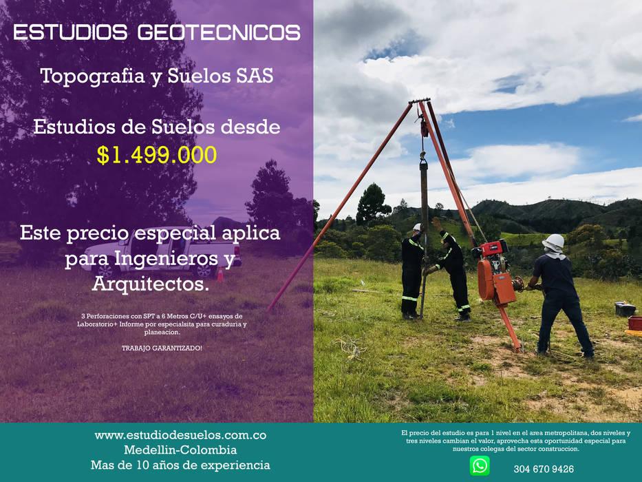 Estudio de suelos Medellin Estudios y despachos de estilo tropical de Topografia y Suelos SAS Tropical Arenisca