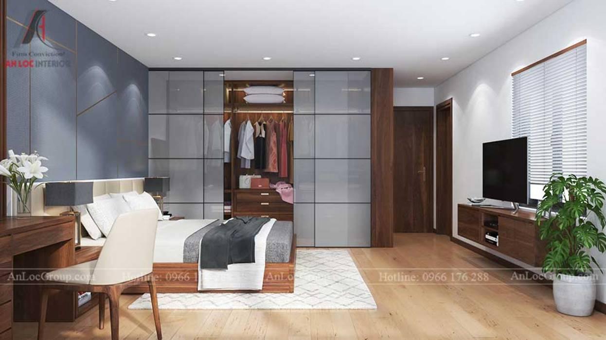NỘI THẤT NHÀ PHỐ ĐẸP TẠI HẢI PHÒNG NHÀ ANH NGUYÊN:  Phòng ngủ by Nội Thất An Lộc, Hiện đại