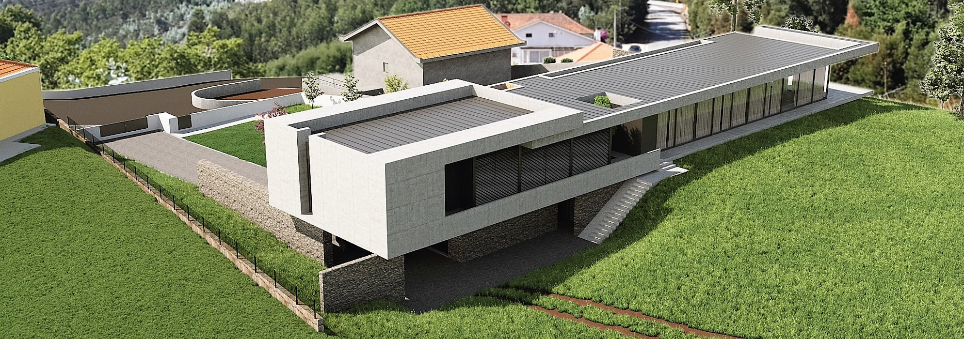 Moradia Unifamiliar  - Gondomar - Tipologia T3: Casas unifamilares  por EsboçoSigma, Lda,Moderno