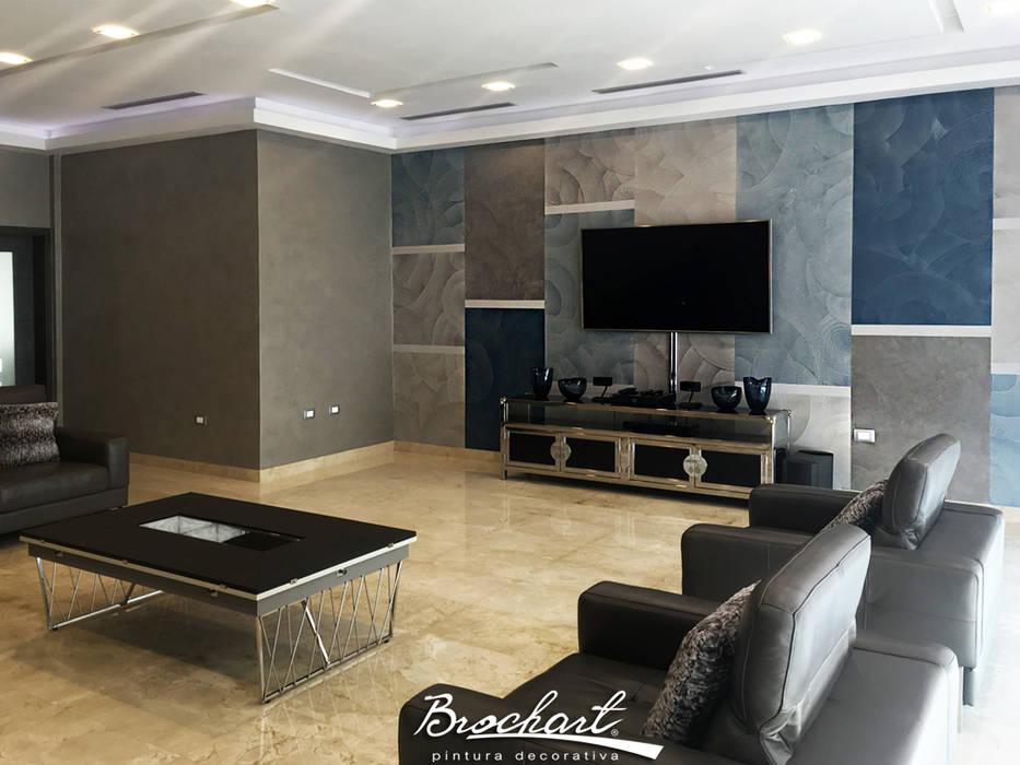 Sala familiar, técnica Acetato y Esfumado Acuarela ©: Paredes de estilo  por Brochart pintura decorativa