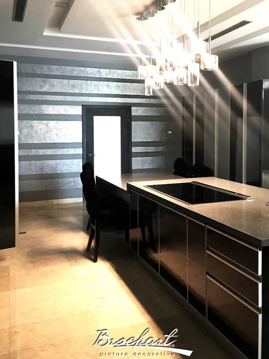 Cocina principal, técnica Rayas Chic © Paredes y pisos de estilo moderno de Brochart pintura decorativa Moderno