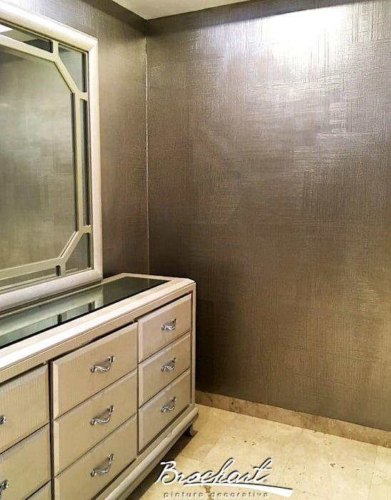 Dormitorio principal, técnica Lino 3D ©: Paredes de estilo  por Brochart pintura decorativa
