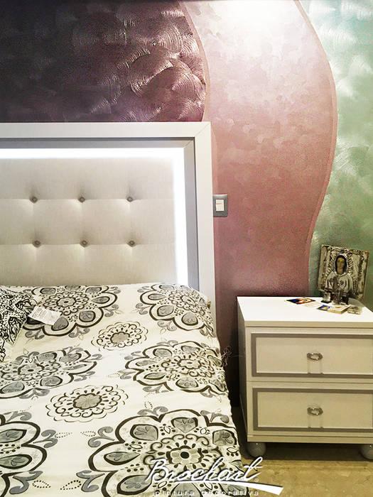 Dormitorio secundario, técnica Corteza 3D ©: Paredes de estilo  por Brochart pintura decorativa