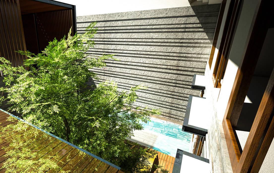 Daylight House: Teras oleh AIGI Architect + Associates, Tropis Batu
