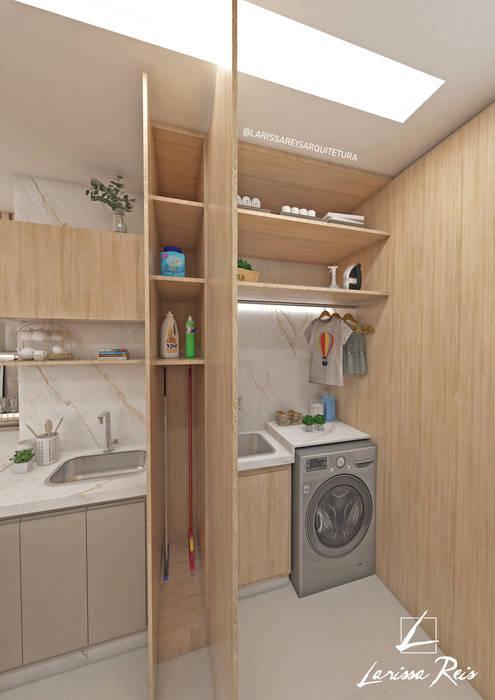 Apartamento 40 m²: Armários e bancadas de cozinha  por LARISSA REIS ARQUITETURA,Moderno