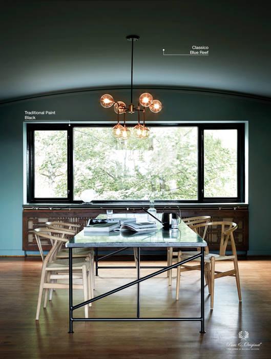 Classico krijtverf in de kleur Blue Reef, Traditional Paint in de kleur Black:  Eetkamer door Pure & Original