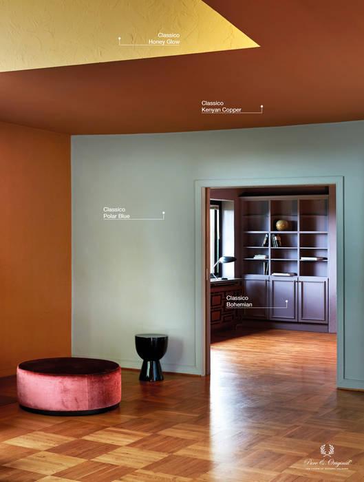 Classico krijtverf in de kleur Bohemian, Polar Blue en Kenyan Copper:  Woonkamer door Pure & Original