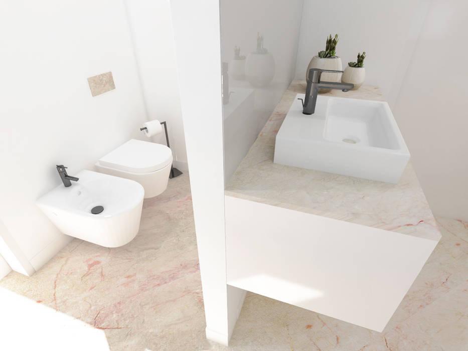 Moradia Unifamiliar – Viela dos Longos, Sintra [2018]: Casas de banho  por núcleo B arquitetos,