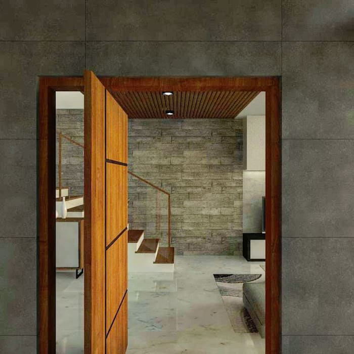 3-Storey Residence in BGC Taguig:  Front doors by Structura Architects,